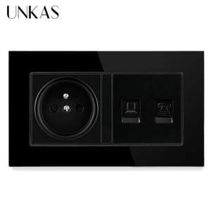 UNKAS Tempered Crystal Glass Panel French Standard Socket + RJ11 Telephone Jack RJ45 Internet Computer Port 146MM*86MM Outlet