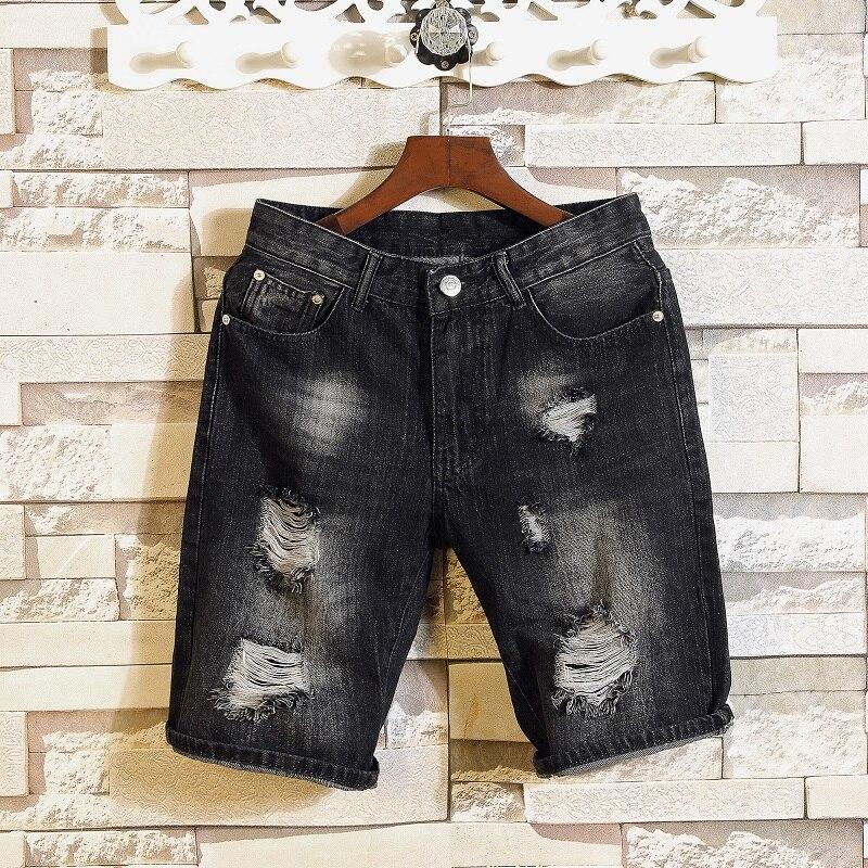 Мужские черные джинсовые шорты 2021Men, летние короткие джинсовые шорты с дырками, хорошего качества, мужские хлопковые повседневные джинсовы...
