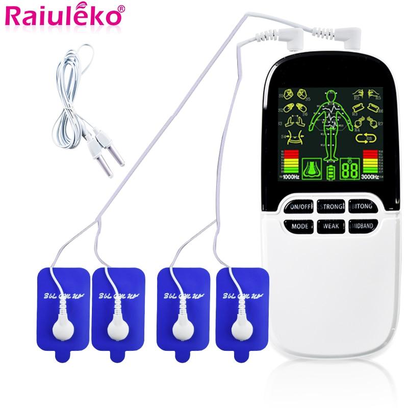 Dezenas/ems dupla-saída massageador elétrico massagem pulso acupuntura corpo fisioterapia máquina estimulador muscular queimador de gordura cupping