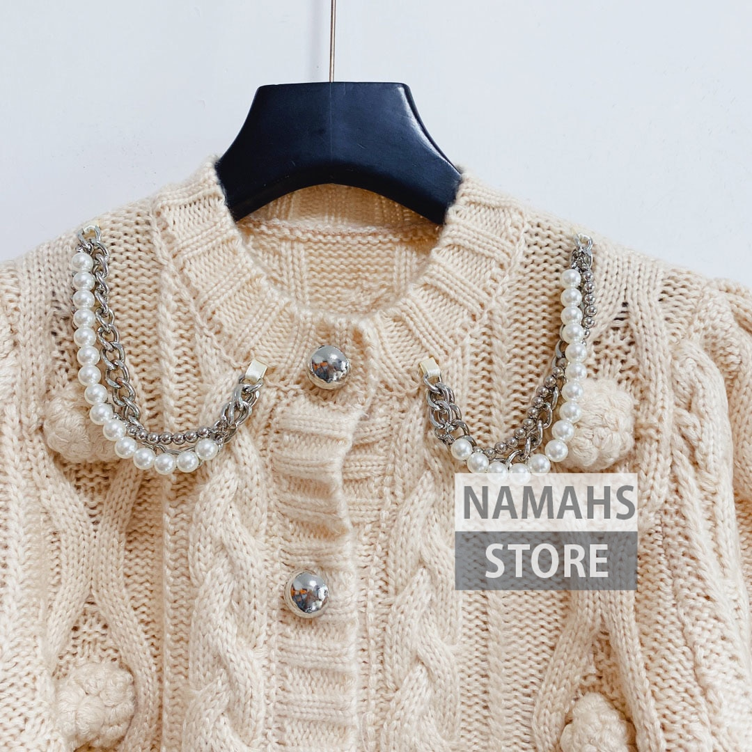 fall fashion sweaters for women 3D jacquard designer high end wool knit cardigan long sleeve chain sweater cardigans clothes S-L enlarge