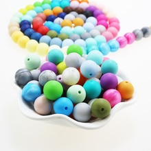 100pieces/lot Silicone Beads Baby Teething Beads 15mm Safe Food Grade Nursing Chewing Round Silicone