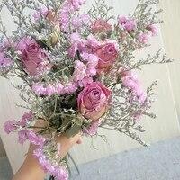 Bouquet de roses naturelles sechees  30cm  5 grandes tetes  herbe pour amoureux  bon marche  vraies Fleurs pour cadeau  decoration dinterieur de mariage pour la maison
