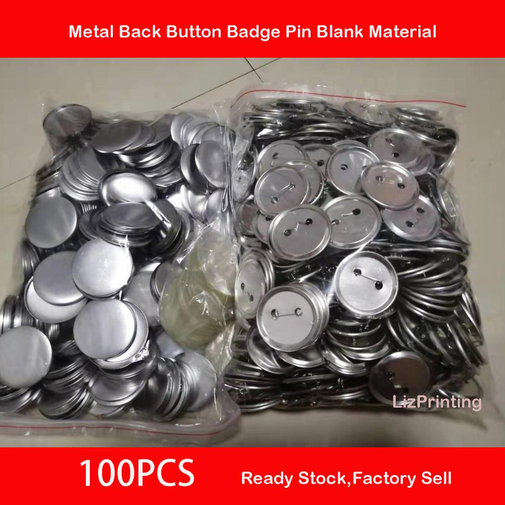 37mm Metal back DIY Badge Button Pins Blank Raw Material pins buttons badges supplies parts 100PCS