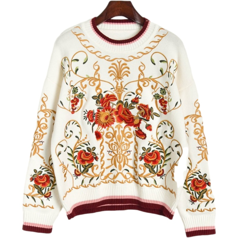 High Quality Wool Blend Pullover Sweater Women's luxury Floral Embroidery Autumn Winter Runway Thick Knit Jumper Sweater Tops enlarge