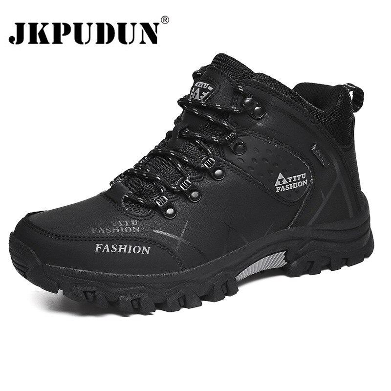 Winter Leder Stiefeletten Männer Casual Schuhe Im Freien Wasserdichte Arbeit Werkzeug Mens Wandern Stiefel Turnschuhe Warm Military Schnee Stiefel