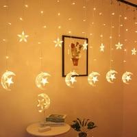 ИД Мубарак мА для дома с рисунками Луны, звезд, падающих светодиодный Шторы светильник гирлянда исламский мусульманский вечерние аль-Адха в...