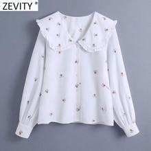 Zevity 2021 donna dolce pizzo agarico girare verso il basso colletto ricamo floreale camicetta camicetta ufficio camicie da donna Chic Blusas top LS7708