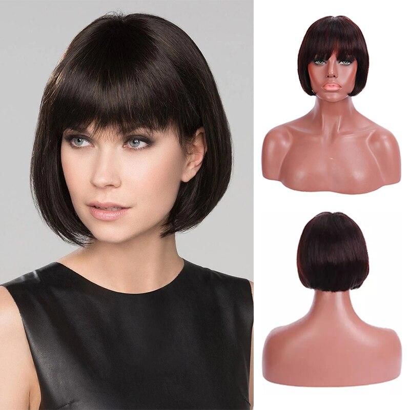perucas curtas do cabelo humano brasileiro remy perucas de cabelo para preto curto