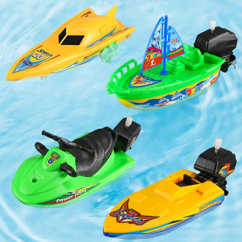 1Pc Speed Boat Ship Wind Up Toy Bath Toys Shower Toys Float In Water Kids Classic Clockwork Toys Winter Toys for Children Boys недорого