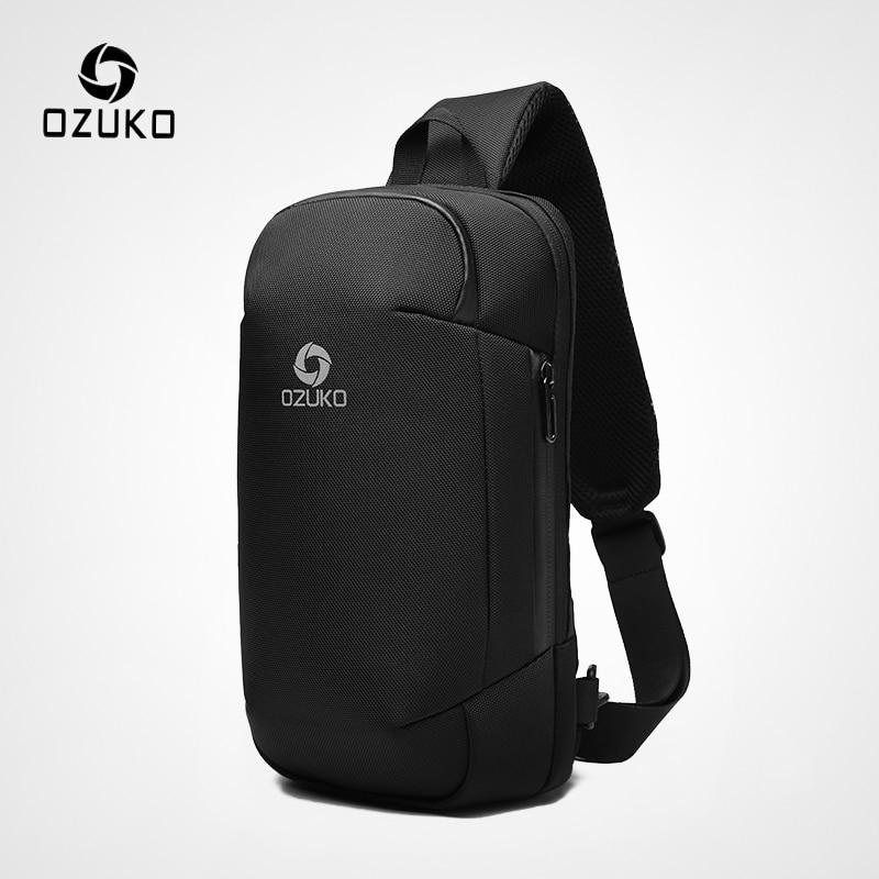 OZUKO New Men Anti Theft Crossbody Bags Fashion Male 9.7inch iPad Messenger Bag USB Charging Shoulder Bag Waterproof Sling Bag