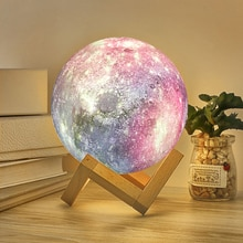 Moon Lamp 3D Moon Night Light Lamp with Stand Star Galaxy Lamp USB Table Lamp Remote Control 16 Colo
