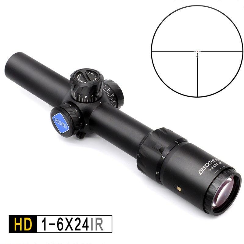 Visor táctico y compacto IR Discovery HD 1-6X24 AR15 30-06 308 AR15 con retícula iluminada grabada en vidrio