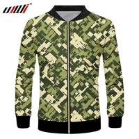 ujwi factory digital full body print mens hip hop 3d military camouflage zip jacket streetwear clothes wholesale