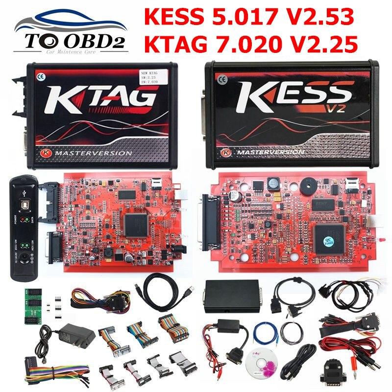 Версия ЕС красный 4LED KTAG 7,020 V2.25 No Token Limited Многоязычная K тег 7,020 онлайн версия KESS V2.53 V5.017 5,017 KESS
