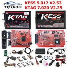 Eu Versie Rode 4LED Ktag 7.020 V2.25 Geen Token Limited Multi-Taal K Tag 7.020 Online Versie Kess V2.53 v5.017 5.017 Kess