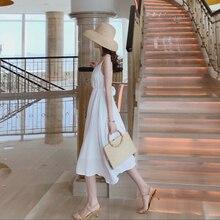 Women's Summer Backless White Fairy Suspender 2021 New Thailand Seaside Vacation Skirt Beach V-neck