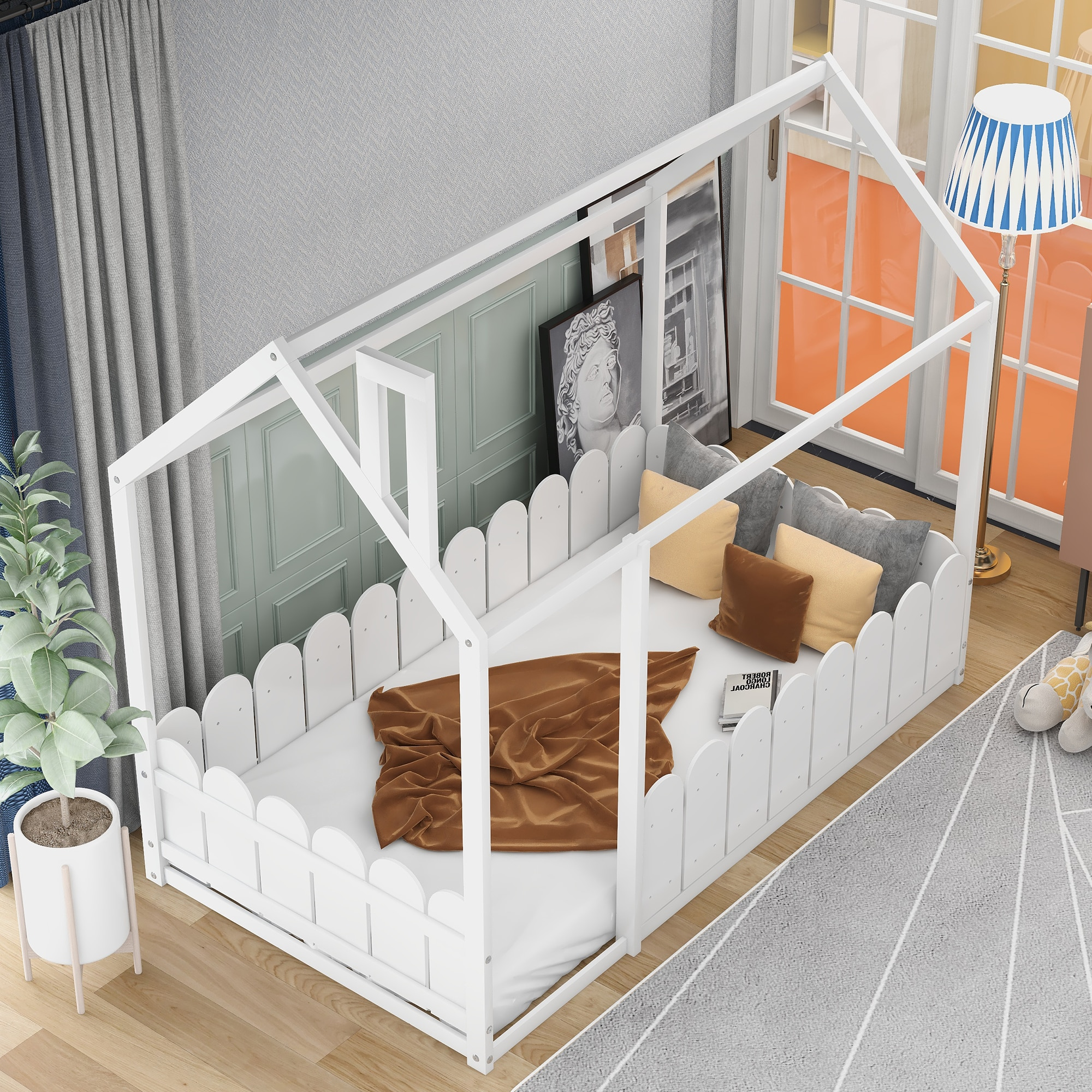 Twin Size Wood Bed House Bed Frame with Fence for Kids Teens Girls Boys Gray/White/Walnut/Espresso(Slats are Not Included)[US-W]