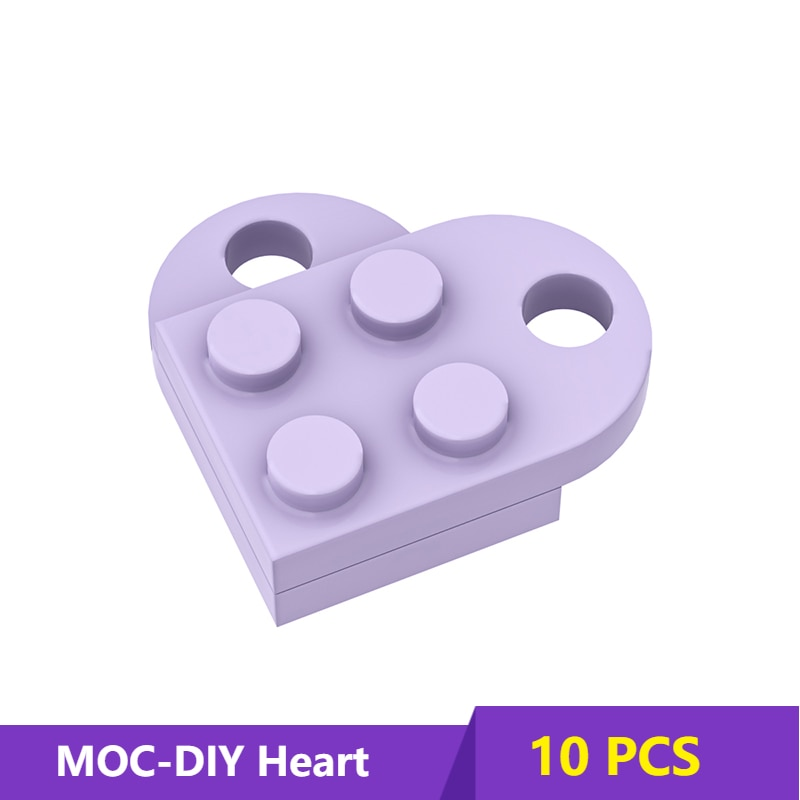 MOC 3176 Brick Heart Necklace/Key ring toys 2 x 2Heart-shaped Multicolor Compatible with  Educational Toy Gift for Children