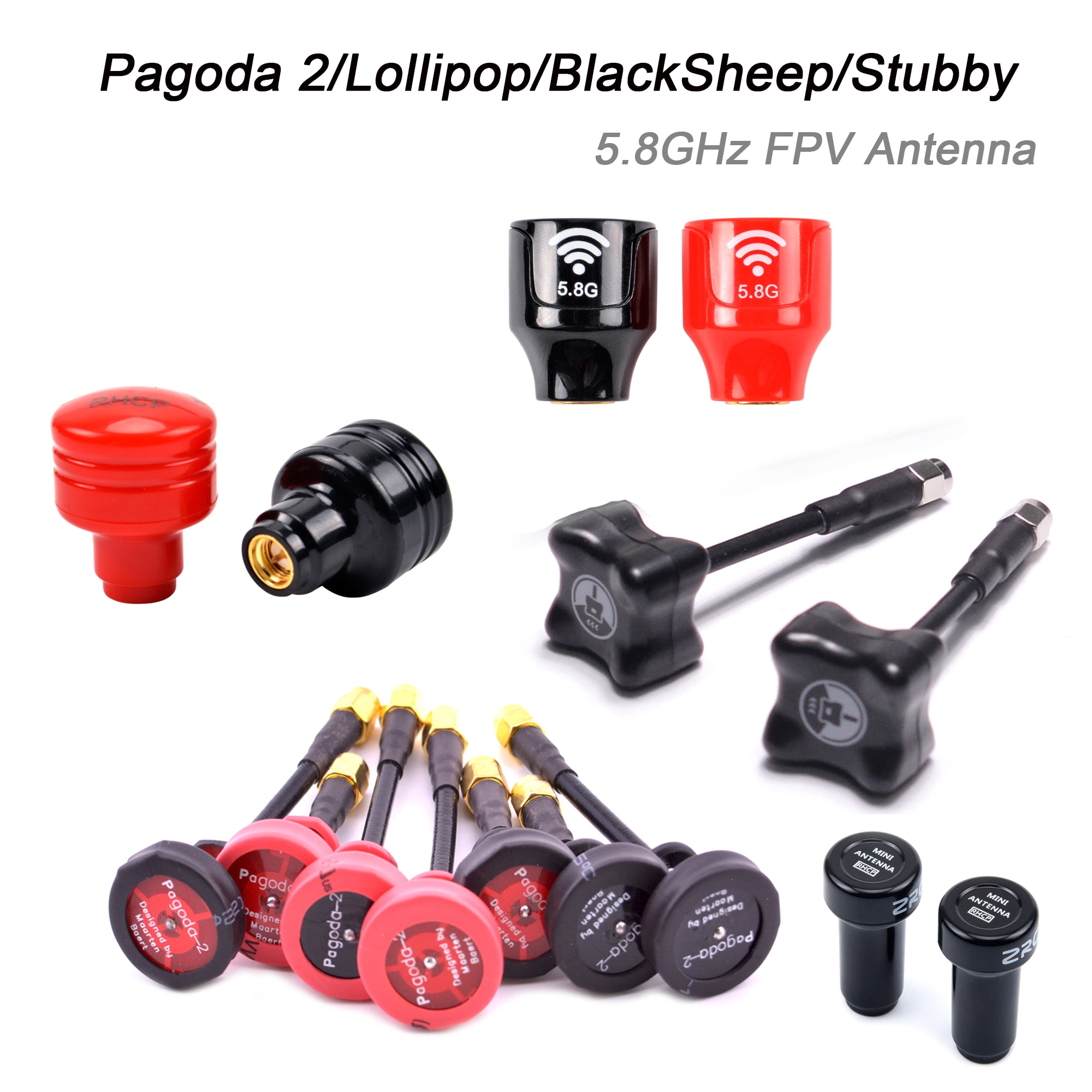 Pgoda 2 / Lollipop / BlackSheep / Stubby 5,8 ГГц FPV антенна SMA / RP-SMA / MMCX / UFL разъем для радиоуправляемого квадрокоптера FPV