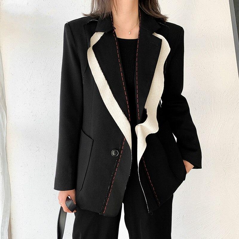 2021 Spring Women Spliced Hit Color Temperament Blazer New Lapel Long Sleeve Loose Fit  Jacket Fashion Ladies Office Coat