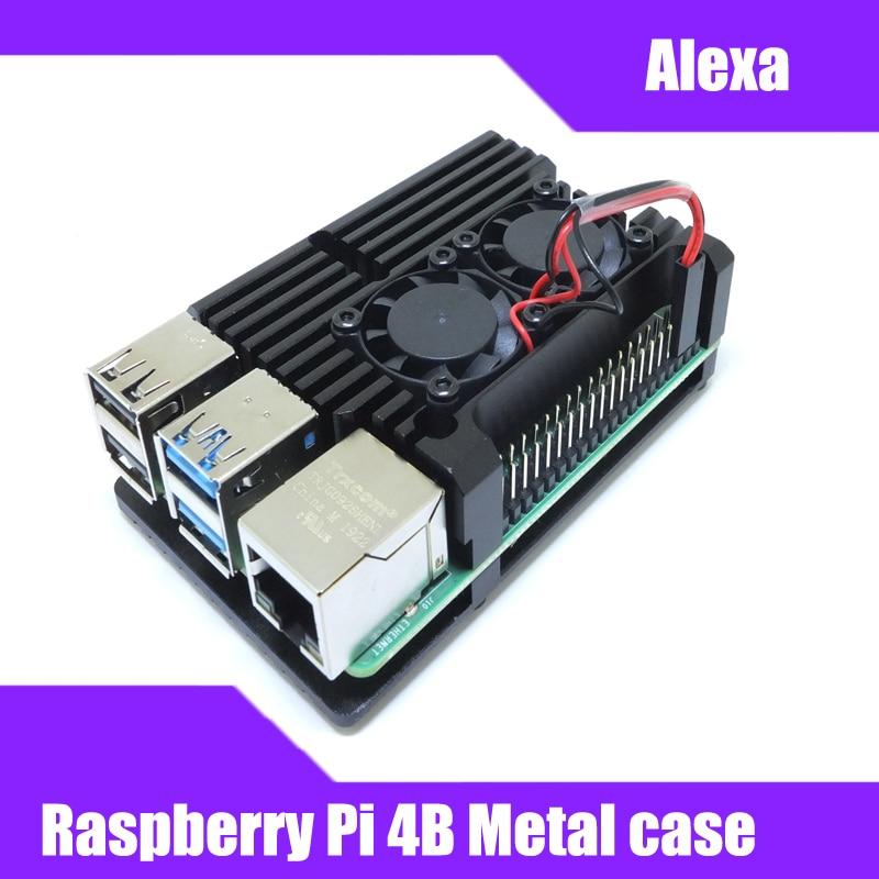 Raspberry Pi 4B Armor carcasa de aleación de aluminio Carcasa protectora de Metal para Raspberry Pi 4B