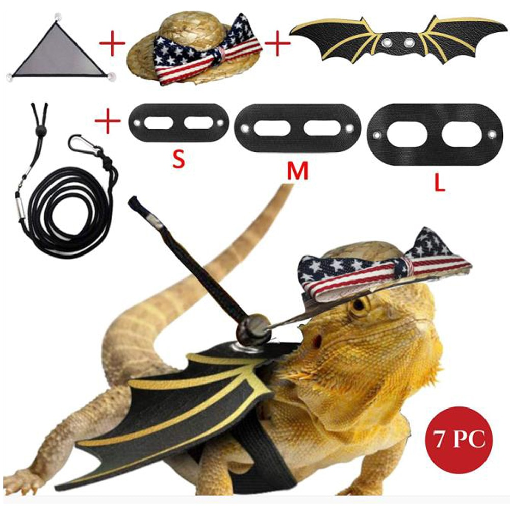 7 Uds cuerda de tracción de lagarto para el hogar arnés para reptiles traje de seguridad para caminar correa de cuero con sombrero hamaca de mascota Accesorios