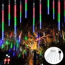 30Cm Led Outdoor Licht 8 Buis Meteorenregen Regen Licht Zonne-energie Ijspegel Raindrop Verlichting Voor Tuin Patio Vakantie wedding December