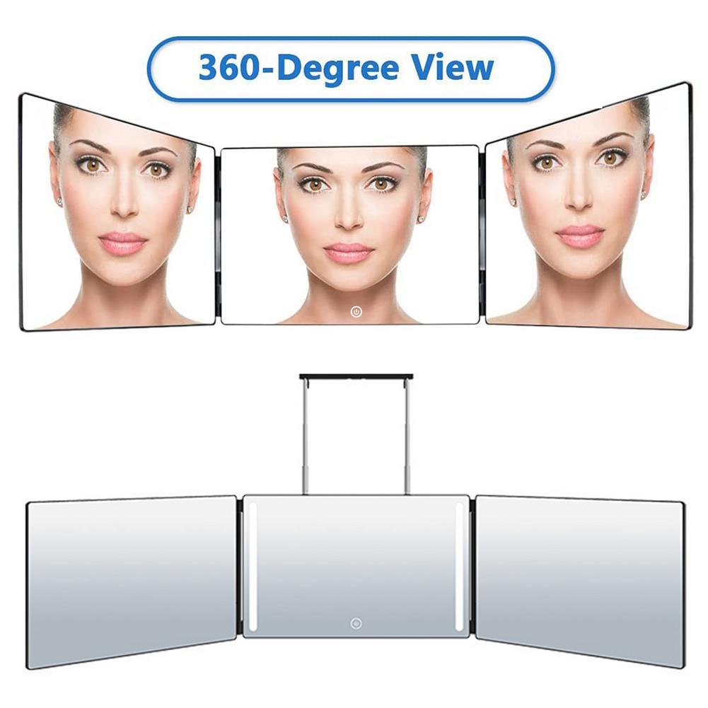 3 طريقة قابل للتعديل سطوع ثلاثة أضعاف مرآة معلقة 360 درجة مرآة مع أضواء المحمولة ماكياج التجميل المرايا حمام المرايا