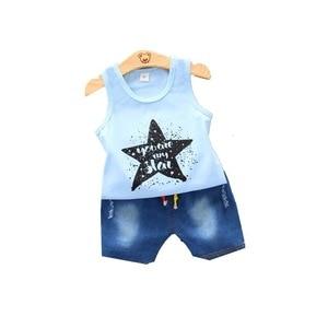 Summer Children Fashion Clothes Kids Boys Girl Letter Pentagram Vest Shorts 2Pcs/sets Baby Infant Coat Toddler Casual Tracksuits