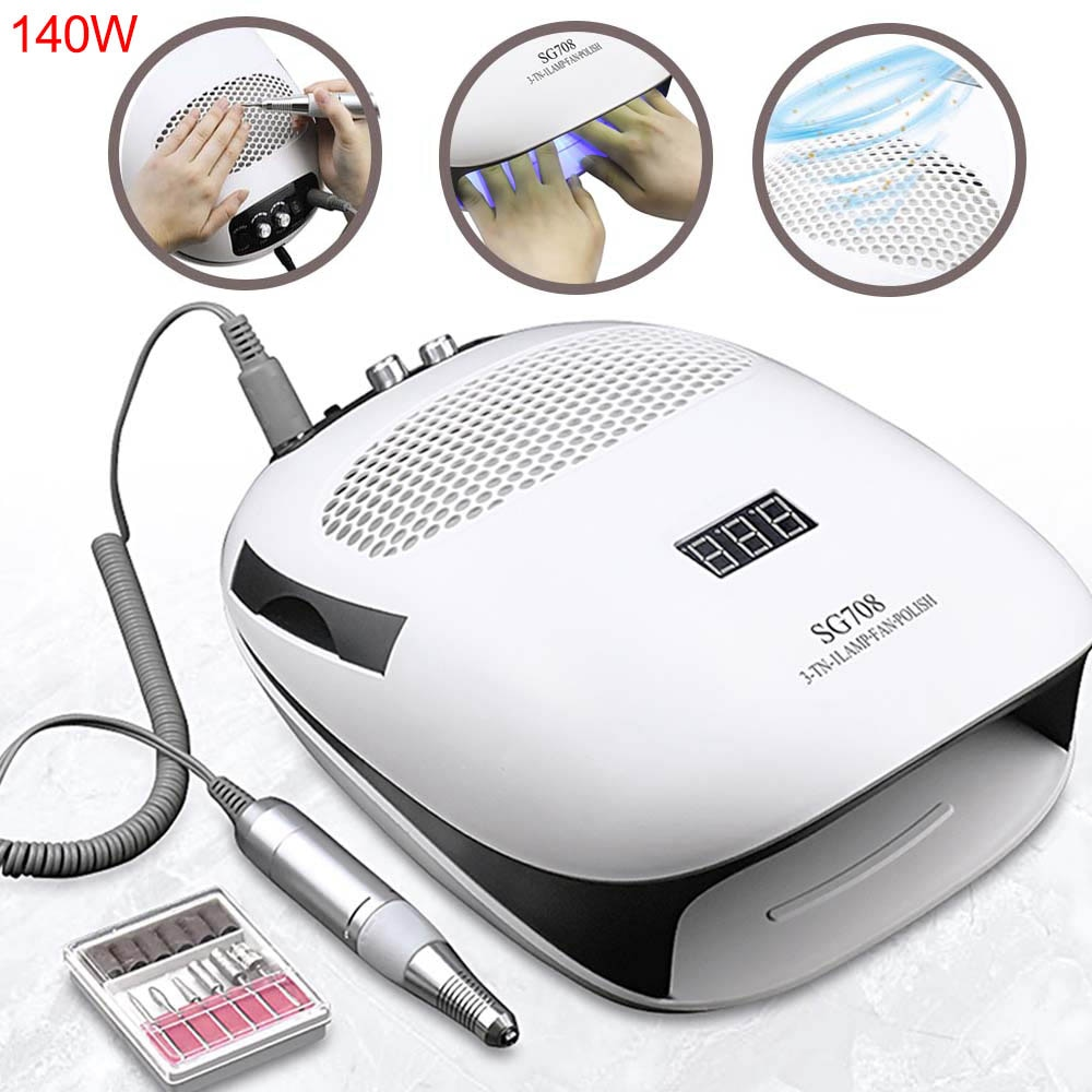 140W 3 IN 1 Nail Lamp Dryer Electric Nail Drill Machine With Nail Dust Suction Collector Vacuum Clea