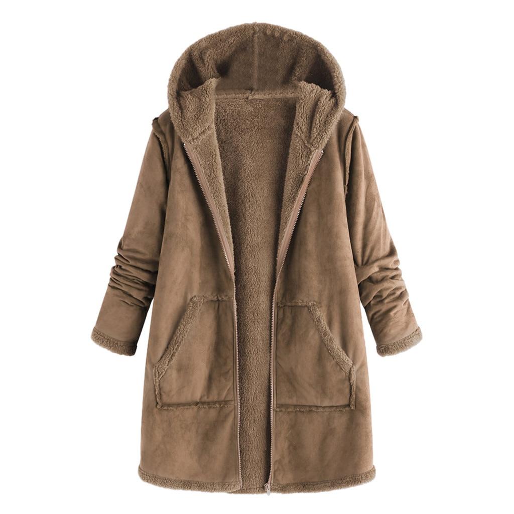 Abrigo nuevo para mujer, tops de bolsillo de moda, abrigo cálido de manga larga con capucha de felpa para invierno y otoño, chaqueta de alta calidad para mujer, abrigo, blusa