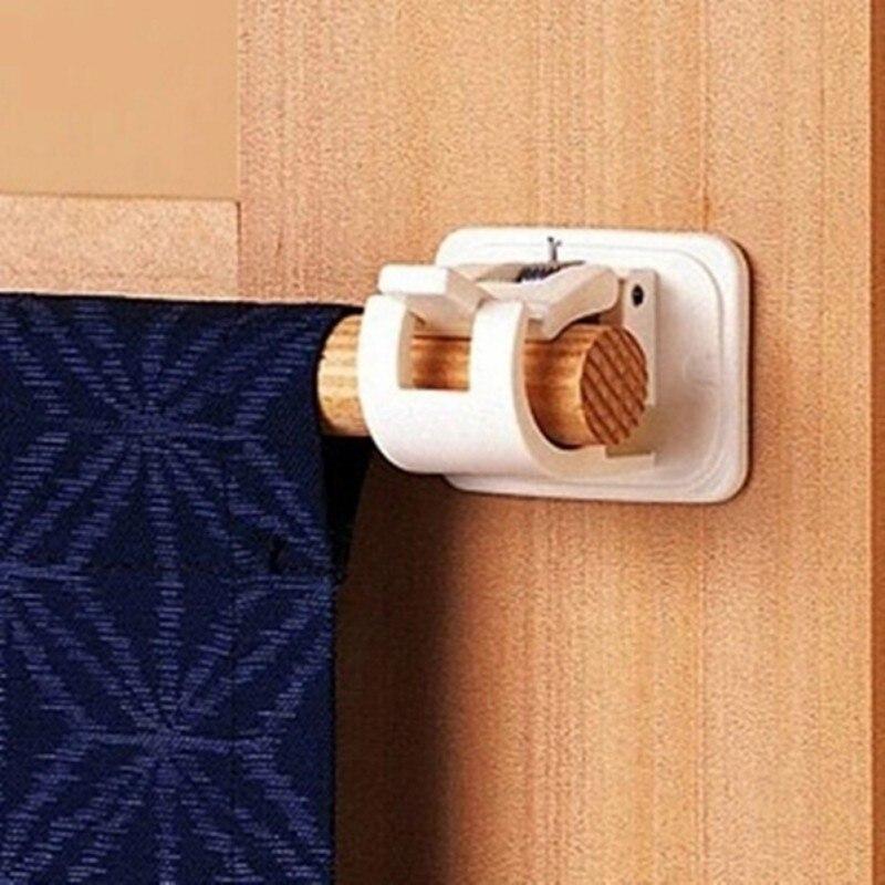2Pcs Selbstklebende Vorhang Stangen Clip Weiß Aufhänger Querlatte Vorhang Clips Wand Haken Hängen Stange Fest Clip