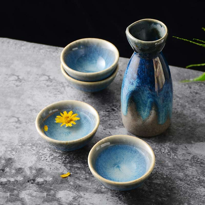 5Pcs Retro Japanese Sake Set Ceramic Flagon Liquor Cup 1 Pot 4 Cups Home Bar Sake White Wine Pot Creative Drinkware Gifts