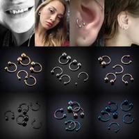 5pcs fake nose ring ear smiley bar circular barbell earring 16g surgical steel bcr septum lip piercing nose rings hoop horseshoe