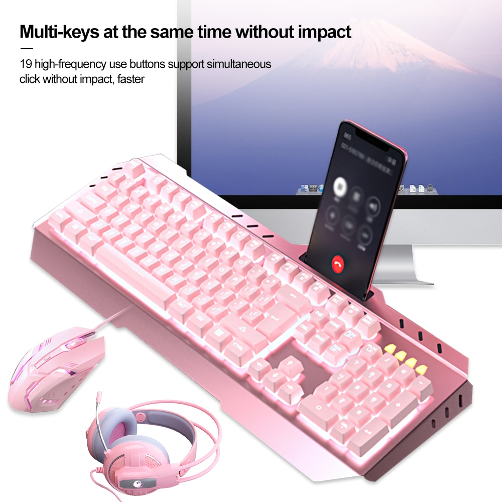 USB Mechanical Gaming keyboard Combos Wired Optical Mouse keyboard Headset Set with LED Backlight for Gamer Computer PC Laptop enlarge