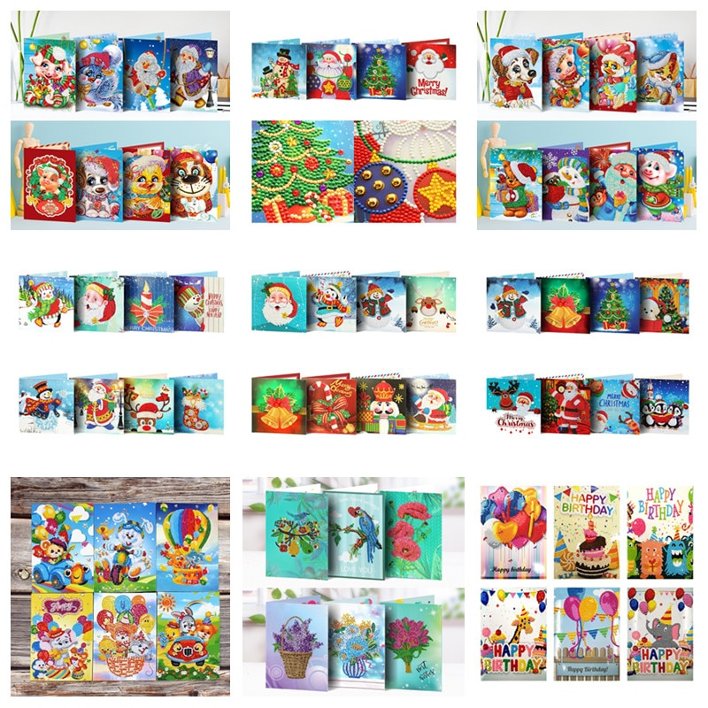 5D DIY Diamond Mosaic Greeting Cards Christmas Birthday Halloween Diamond Painting Kit Embroidery Birthday Gift Home Decoration
