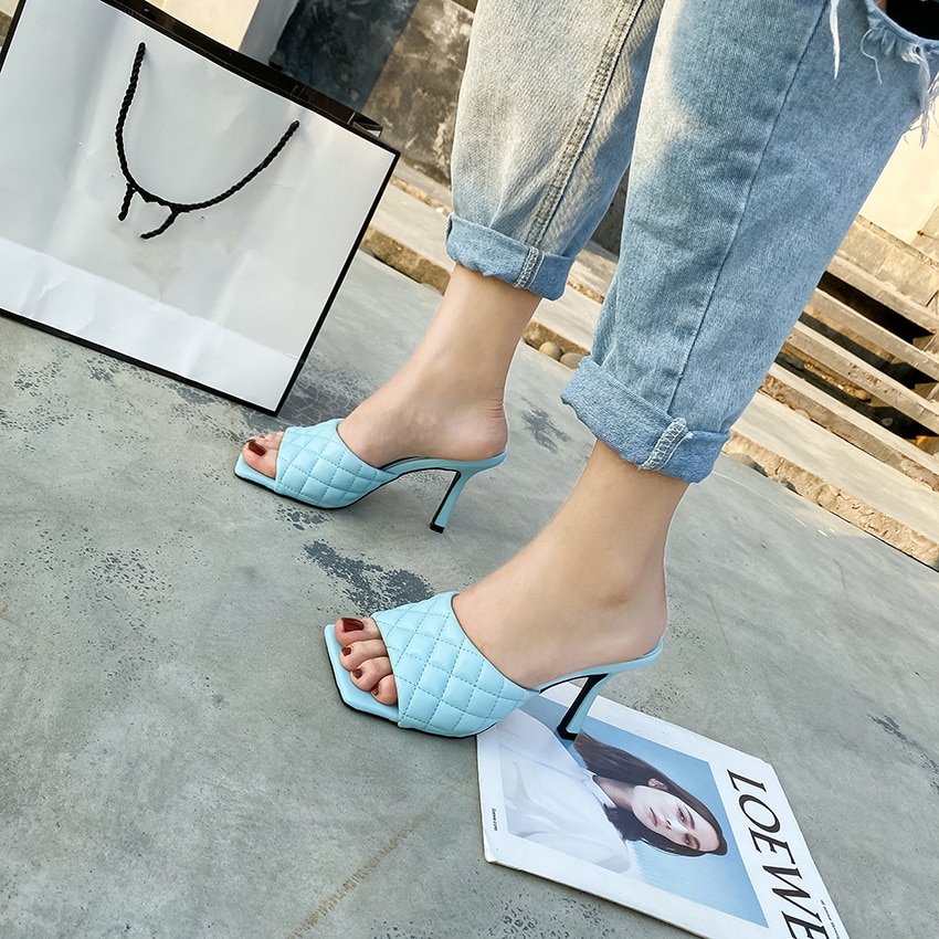 2020 NEW Sexy PU diamond Square head Peep Toe High Heel Slippers Summer Fashion Slip On Thin Heels Slides Women Mules Party