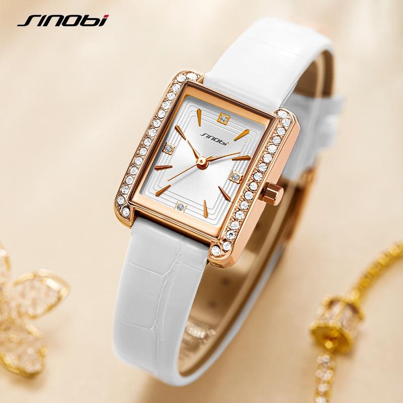 SINOBI Diamond Watch For Women Luxury Brand Ladies Square Watch Minimalist Analog Quartz Movt Unique Female Iced Out Watch enlarge