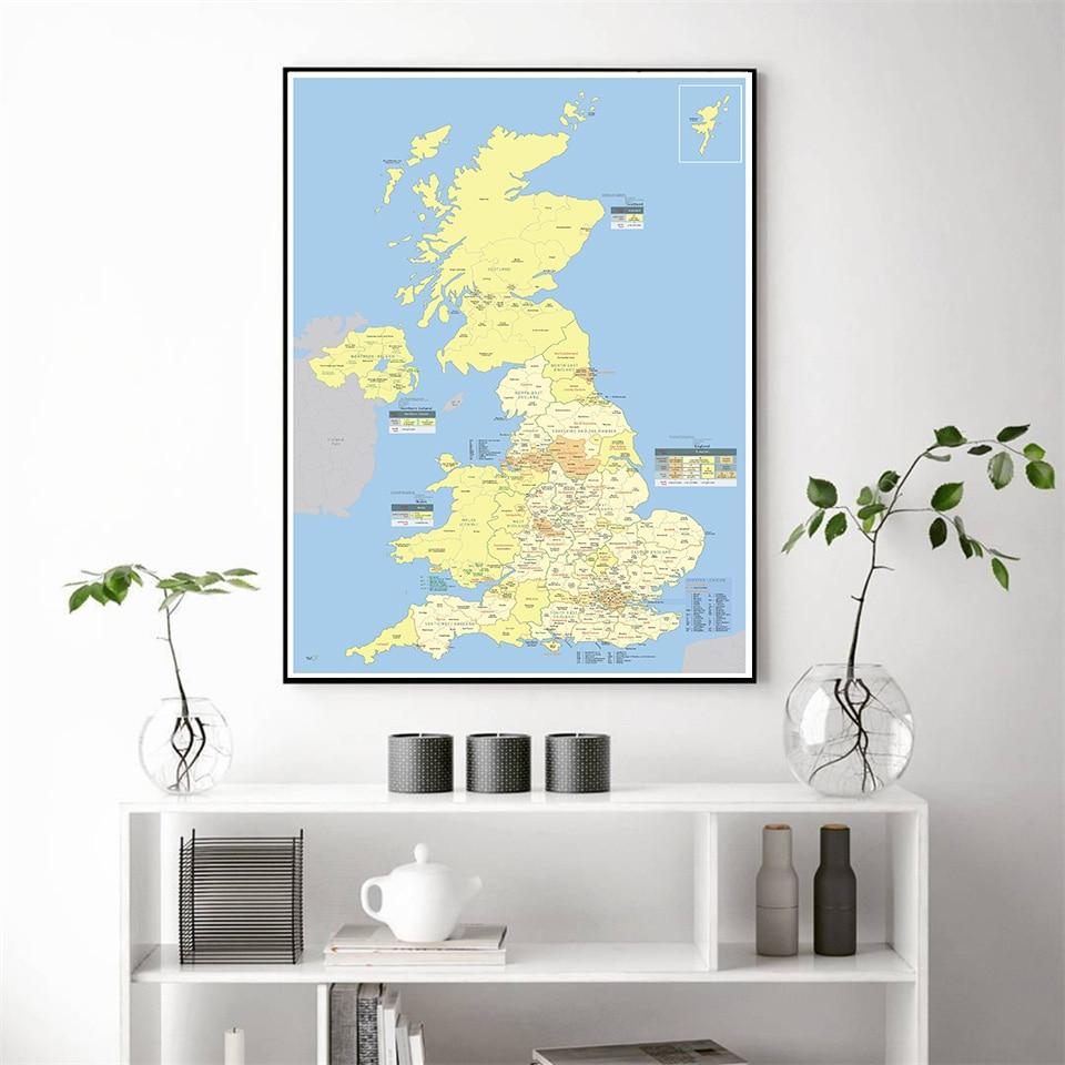 59*84cm The UK Detailed Regions Map Wall Art Poster Canvas Painting Living Room Home Decoration Travel School Supplies