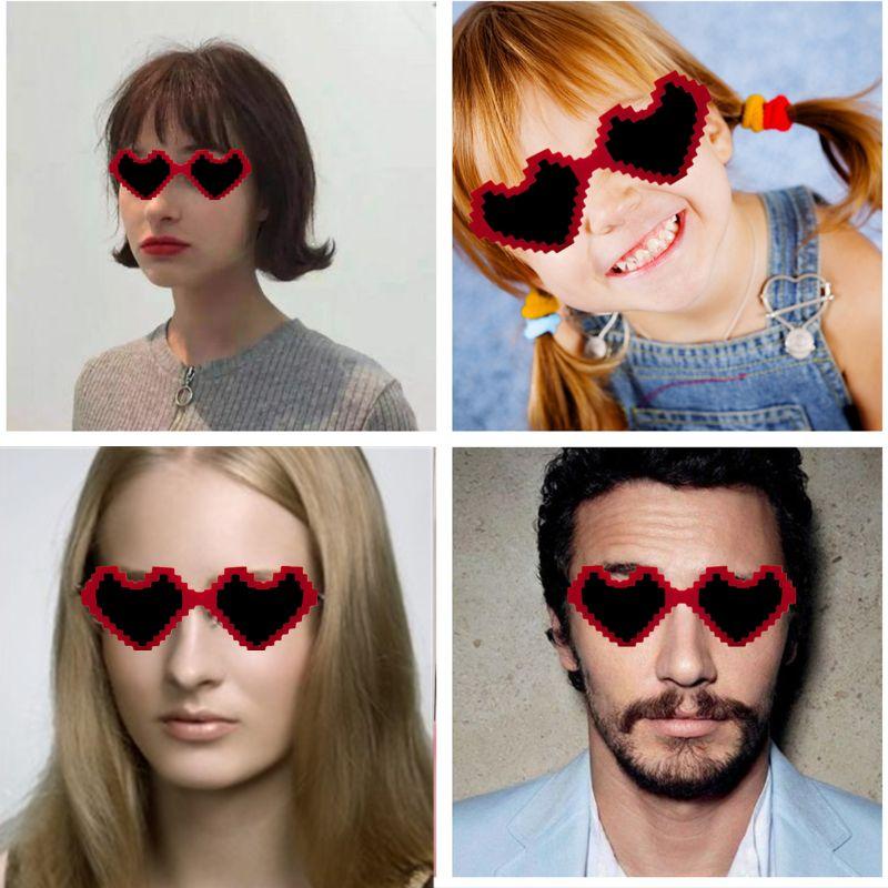 Gafas de sol Unisex con diseño de corazón, hermosos lentes, para fiesta, recuerdo, foto de playa para niños, adultos y adolescentes