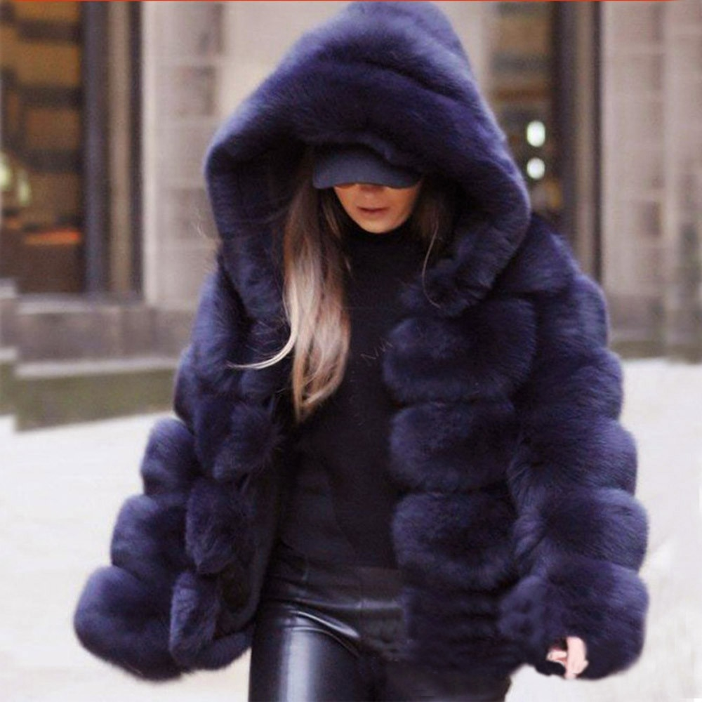 S-4XL الشتاء الفراء معاطف النساء أزياء عالية الجودة مقنعين فو الفراء معطف أنيقة سميكة الدافئة قميص أفخم وهمية الفراء سترة معاطف
