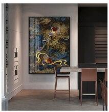 Défilement traditionnel peinture chinoise impression sur toile affiches et impressions encre japonaise rouge Koi carpe mur photos pour salon
