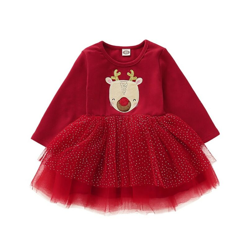 Vestido de bebé 2019 Navidad niño bebé niña ropa de Navidad vestido de encaje de manga larga tutú