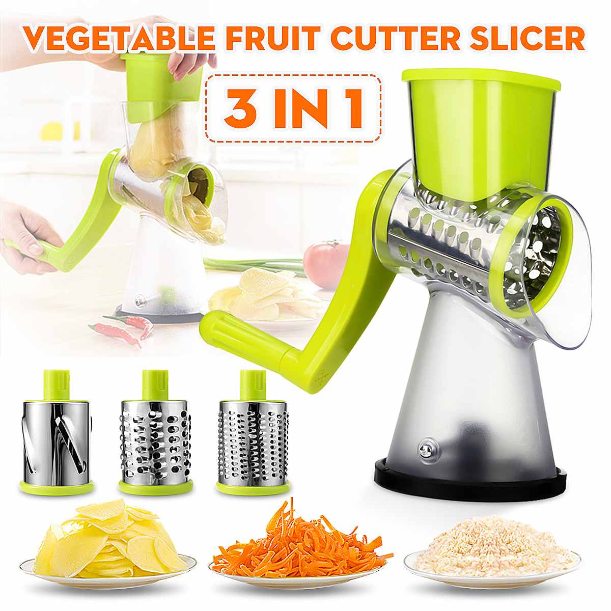 Cortadora cortadora Manual de verduras cortadora de papas rallador de zanahoria desmontable 3 hoja de acero inoxidable molinillo de carne Base antideslizante