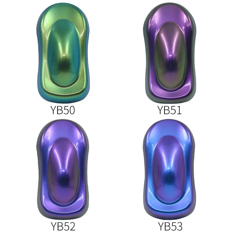 4 Bags Chameleon Pigments Powder Coating Acrylic Paint  Chameleon Dye for Automotive Art Craft Nail Decoration Painting 10g/bag