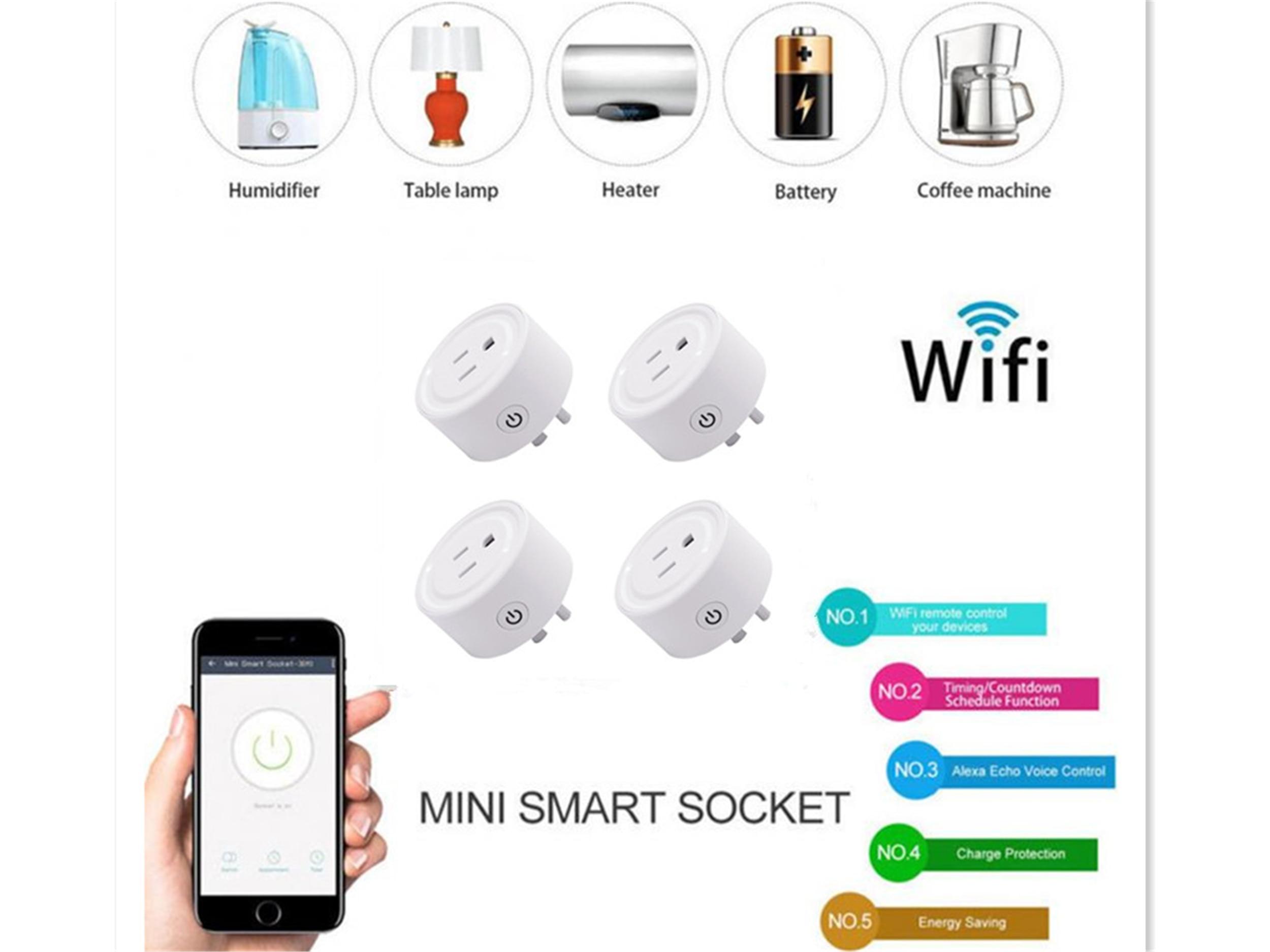 4 unids/lote Mini Wifi Smart Plug Control remoto inalámbrico funciona con Apple Homekit, Alexa, Google asistente FCC certificado