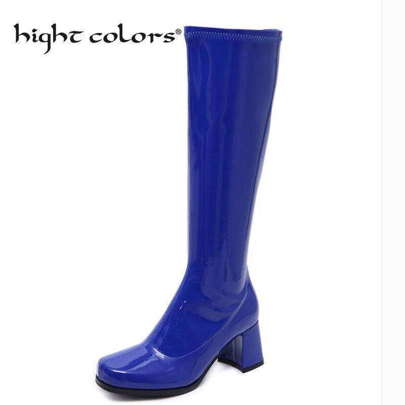 (33 43 43) botas de chuva femininas de couro patente deslizamento no joelho botas altas moda feminina salto quadrado casual azul roxo sapatos femininos para-906