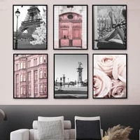 pink rose flower door paris tower vintage wall art canvas painting nordic posters and prints wall pictures for living room decor