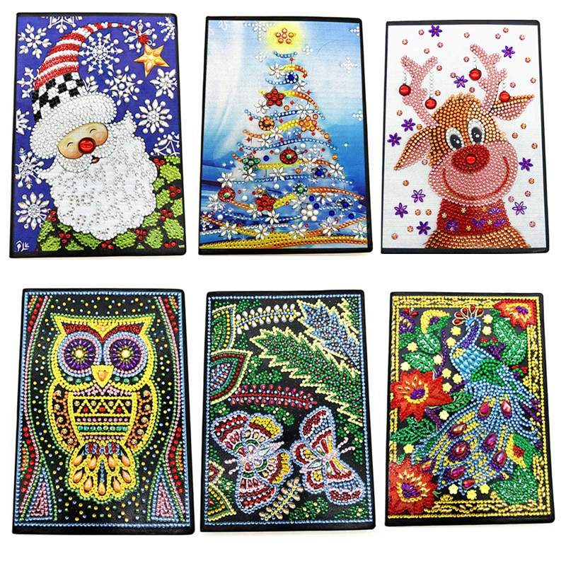 Novo diy natal pintura diamante caderno diário a5 caderno bordado diamante cruz artesanato presente