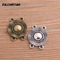 pulchritude 10pcs 2126mm two color zinc alloy round pendants connectors linker for diy charm jewelry accessorie